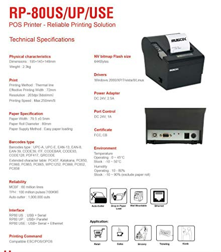 Posiflex Rugtek Thermal Label Printer- RP80-US - With 1 Yrs onsite Warranty manufacturer.