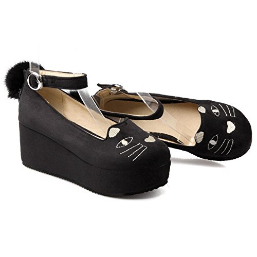 COOLCEPT Women Classic Ankle Strap Pumps Shoes Black GYXtqB
