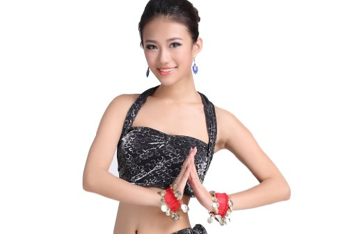 Flash Dance Latin Costumes (ZLTdream Lady's Belly Dance Silver-flash Cloth Short Sleeve Top Sliver-Black)