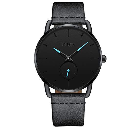Mens Watch Fashion Luxury Dress Simple Designer Analog Watches Genuine Leather Leather Quartz Ultra Thin Watch - Black