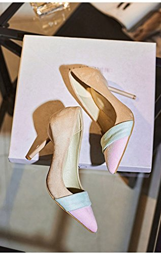 Easemax Womens Sweet Pointed Toe Stiletto High Heels Stripes Pumps Shoes Beige GEmMG