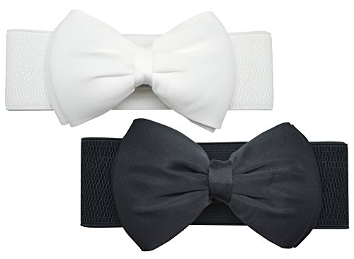 Meta-U Women Flower Elastic Wide Waist Belt (black bow & white bow) (Wide Dress Belt)