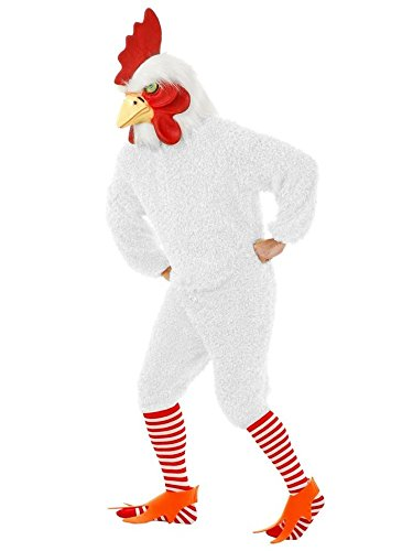 White Rocking Rooster Funky Chicken Adult Costume Jumpsuit Bird Soft Fur & Mask (Adult Rooster Costume)