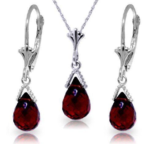 14k White Gold Jewelry Set: Natural Briolette Garnet 18'' Pendant Necklace and Dangle Earrings by Galaxy Gold