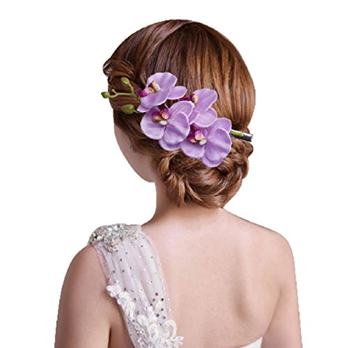 Ikevan Hot Selling Women Fashion Jewelry Side Clip Barrette Simulation Butterfly Orchid Hairpins Hair Accessories (Purple)