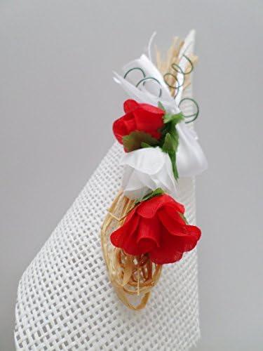 Gastgeschenk Bomboniere Tüte weiss mit Rosen verziert und Hochzeitsmandeln/Taufmandeln beffült Hochzeit Taufe Kommunion *NEU & OVP*