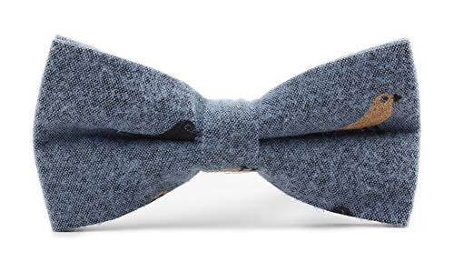 Men's Women Denim Blue Bow Tie Pre-tie Double Layers Novelty Bowties for Young Man Adults Big Boys Girls Kids