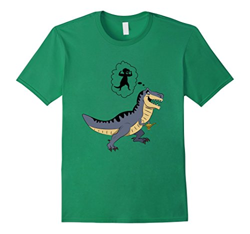 Genie Make A Wish Costume (Mens T-Rex Rubbing Lamp Wish Funny Animals Dinosaur Dream T-Shirt Large Kelly Green)
