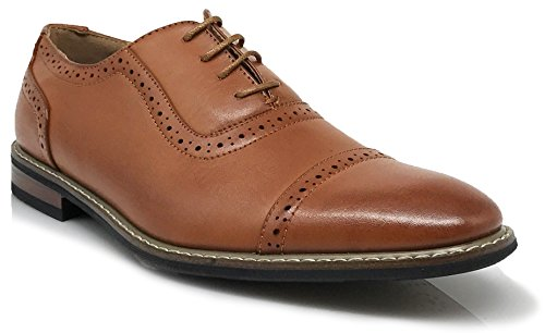 Enzo Romeo Mens Dress Oxfords Shoes Italy Modern Designer Wingtip Captoe 2 Tone Lace Up Shoes Wood3_brown