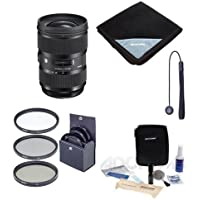 Sigma 24-35mm F/2 DG HSM ART Lens for Nikon Digital SLR Cameras - Bundle with 82mm Filter Kit, Lens Wrap (19x19), Cleaning Kit, Capleash