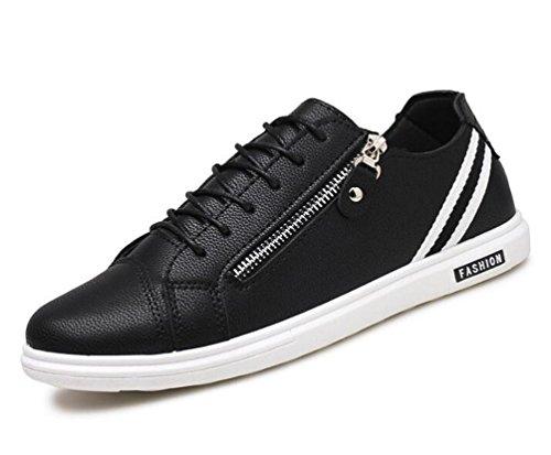Zapatillas de deporte ocasionales de la lona de los zapatos ocasionales antideslizantes de la zapatilla de deporte de la cremallera de la cremallera de la cremallera de los zapatos ocasionales respira Black