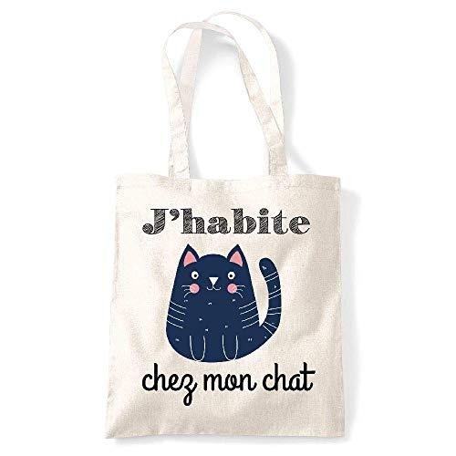 Creme bag Coton chez habite Naturel Tote J kase Gs chat My mon qwvpaBA1En