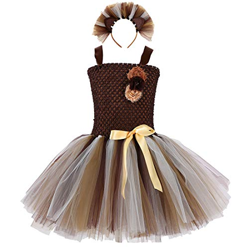 Brown Lion Tutu Dress for Girls Birthday Party Animal Costume with Headband Outfit Tulle 5T 6T