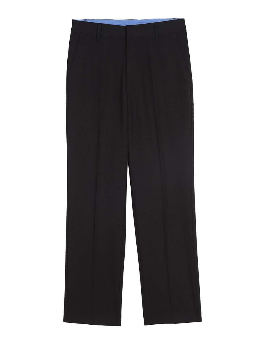 IZOD Boys' Big Bi-Stretch Flat Front Dress Pant, Black, 14 Husky