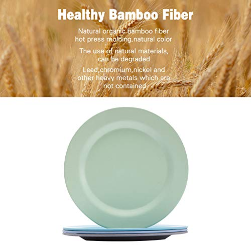 4pcs Bamboo Kids Plates for Baby feeding,Non Toxic & Safe Toddler Plates, Eco-Friendly Tableware for Baby Toddler Kids Bamboo Toddler Dishes & Dinnerware Sets,01