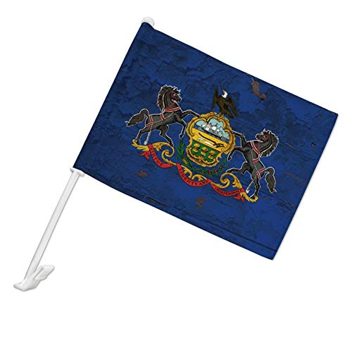 GRAPHICS & MORE Rustic Pennsylvania State Flag Distressed USA Car Truck Flag with Window Clip On Pole Holder - Left Driver Side