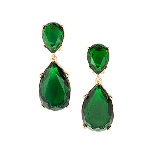 Kenneth Jay Lane Green Color Crystal Double Teardrop Statement Pierced (Kenneth Jay Lane Green)