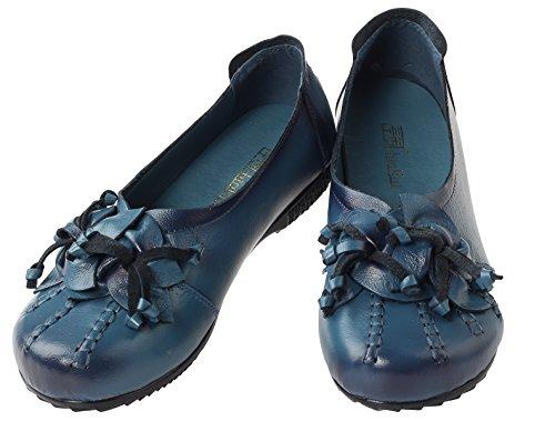 Vogstyle Damen Frühjahr/Sommer Neu Vintage Handgefertigte Große Blume Leder Flache Schuhe Art 2 Blau