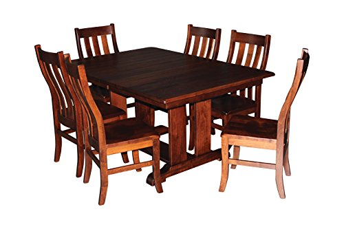 Aspen Tree Trestle Dining Room Kitchen Table Chair Set 8 Side Chairs 60