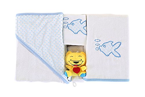 4 Piece Spa Collection Home (4 Pcs Baby Towel Set Premium Quality Made in Turkey 100% Cotton with Bib and Scrub Mitt / Blue White Fish Polka Dots Border Bathroom For Kids / SuperSoft Machine Washable Quick Dry Highly Absorbent)