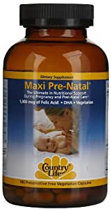 Country Life Maxi Pre-natal Multi-vitamin/ Minimum for Pre-and Post Natal, 180-Count
