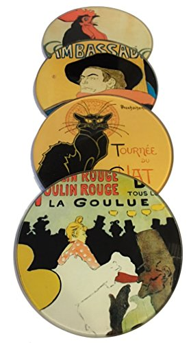 (Parisian Posters Lautrec Steinlen Belle Epoque Glass Glass Drink Bar Coffee Table Coasters Set of 4 with Storage)