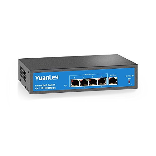 YuanLey 5 Port Fast Ethernet PoE+ Switch 4 Port PoE |1 Port Uplink, 10/100Mbps Speed, Power Internal(78W) Compatible for 802.3af/at by YuanLey