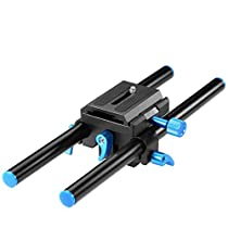 Neewer Universal Aluminum 15mm Rail Rod Support System High Riser DSLR Camera Mount Baseplate 9.8/25cm Long with 1/4 Screw Quick Release Plate for Follow Focus Matte Box