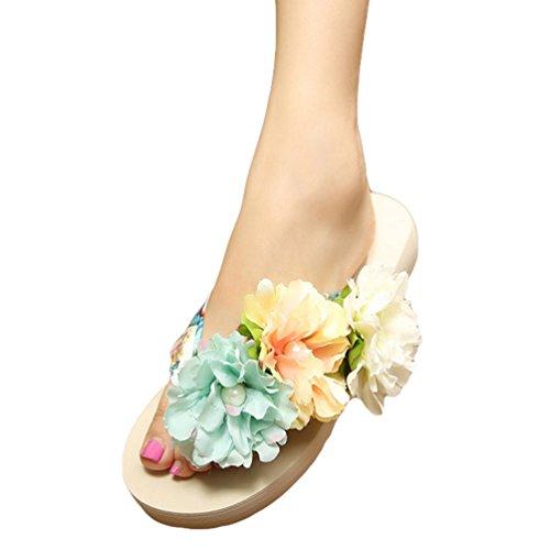 YOUJIA Mujeres Boho Flores Chanclas Verano Playa Zapatos de cuña Plataforma Zapatillas #2 Beige