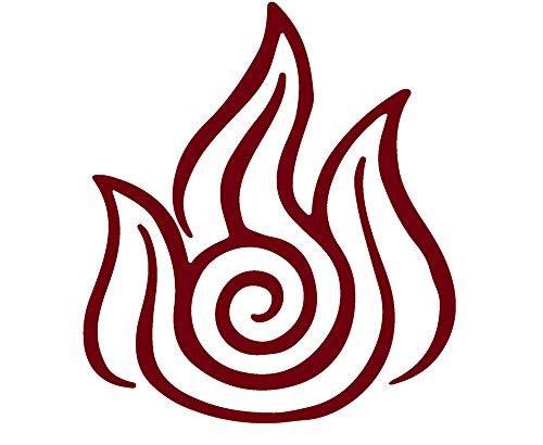 Avatar The Last Airbender Firebending Symbol (BURGUNDY) (set of 2) Premium Waterproof Vinyl Decal Stickers for Laptop Phone Accessory Helmet Car Window Bumper Mug Tuber Cup Door Wall Decoration
