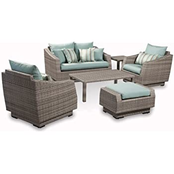 Superb RST Brands 6 Piece Cannes Love And Club Deep Seating Group Patio Furniture  Set, Bliss Blue