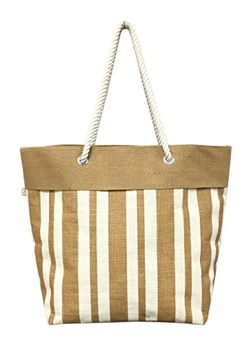 Jute Beach Tote Bag (Tan) (Stripe Beach Bag)