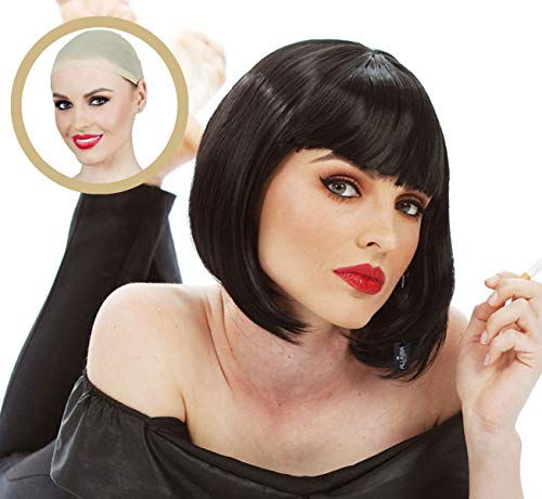 Short Black Bob Wig with Bangs, Mia Wallace Pulp Fiction Costume Wigs for Women -