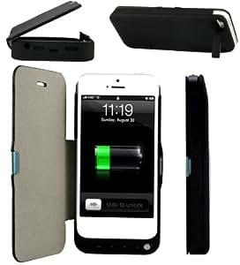 Sunda® - Funda/carcasa con batería integrada de 4200 mAh para Apple iPhone 5G/5S, cargador batería adicional Power Bank – Color negro