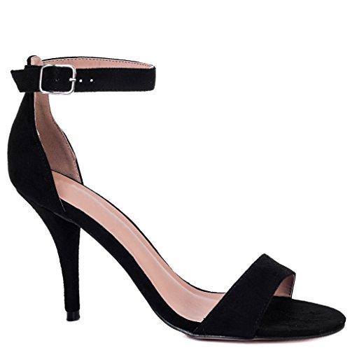 SPYLOVEBUY SOPHIE Damen mit Weiter Passform High Heel Stilettoabsatz Sandalen Schuhe Pumps Schwarz - Synthetik Wildleder