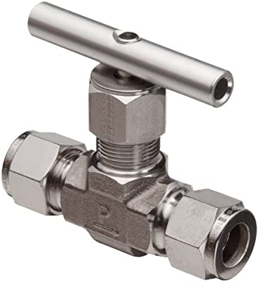 """Parker 316 Stainless Steel Inline Process Needle Valve with PTFE Stem Seal, 1/2"""" Compression A-LOK Inlet/Outlet Port, 5000 psi from Parker"""