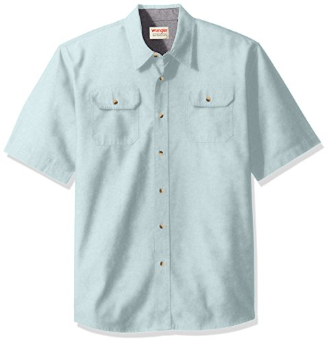 Wrangler Authentics Men's Short Sleeve Classic Twill Shirt, Sterling Blue, XL