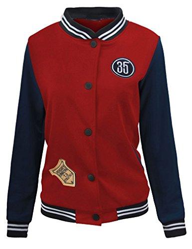 Baseball Jersey Coat (Women's Sporty Baseball Coat Bomber Button Up Jersey Jacket (XS, Wine Red))