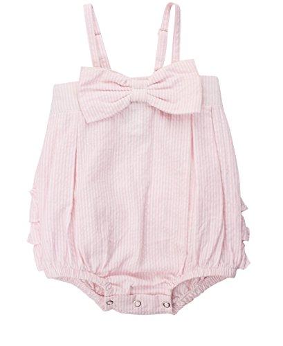 RuffleButts Baby/Toddler Girls Pink Striped Seersucker Bubble Romper w/Bow - 12-18m