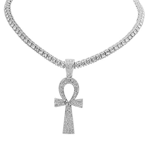 White Gold-Tone Iced Out Hip Hop Bling Eye of Horus Ankh Pendant 1 Row Stones Tennis Chain 20