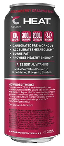 CELSIUS HEAT Strawberry Dragonfruit Performance Energy Drink, ZERO Sugar, 16oz. Can, 12 Pack by CELSIUS (Image #3)