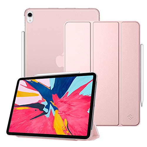 Fintie Case for iPad Pro 11 2018 [Supports 2nd Gen Pencil Charging Mode] - Lightweight SlimShell Cover with Translucent Frosted Back Protector, Auto Wake/Sleep for iPad Pro 11 inch 2018, Rose Gold