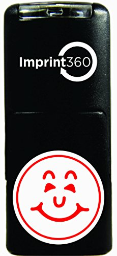 Imprint 360 AS-IMP2000 Round Teacher Stamp - Smiley Face Design #1, Red Ink, Durable, Light Weight Self-Inking Stamp, 5/8' Impression Area