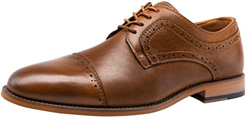 VOSTEY Men's Dress Shoes Cap Toe Retro Leather Formal Oxford Shoes (9,Yellow Brown)