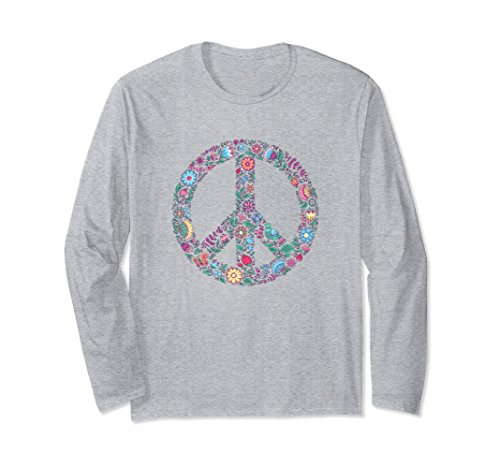 Unisex Floral Peace Sign Long Sleeve Shirt XL: Heather - Peace Floral Sign