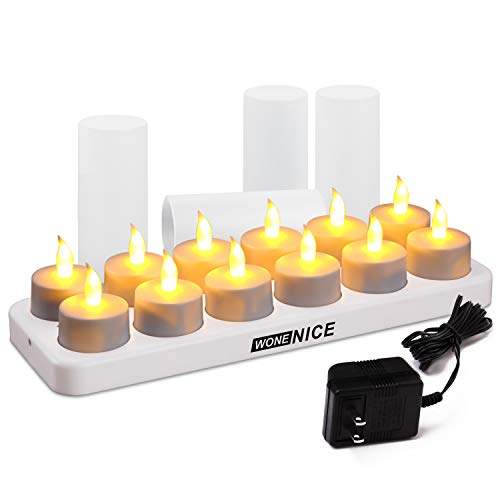 - WoneNice Rechargeable Tea Light Flickering Tealight Candles With Holders, Decorationa for Christmas, Parties, Events, Weddings- (No Batteries Necessary)- White Base (Set of 12)