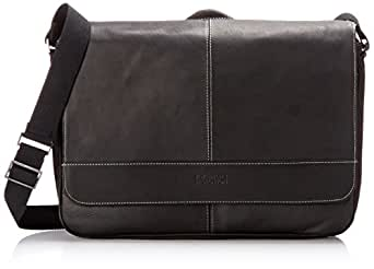 Kenneth Cole Reaction Come Bag Soon - Colombian Leather Laptop and iPad Messenger, Black