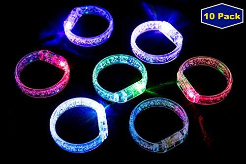 MIDAFON 10Pcs Led Bracelets Light Up Party Favors Glow Toys Supplies -