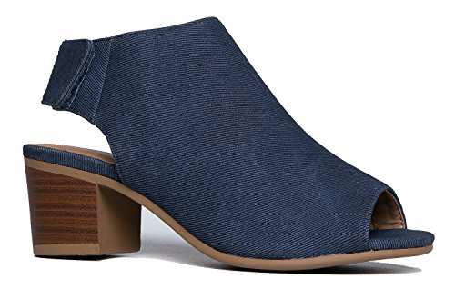 Peep Toe Bootie - Low Stacked Heel - Open Toe Ankle Boot Cutout Velcro Enclosure (Spat Boots)