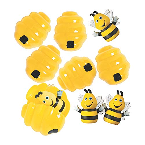 Bee Finger Puppet - Fun Express - Busy Bee Finger Puppet Filled Easter Egg for Easter - Party Supplies - Pre - Filled Party Favors - Pre - Filled Plastic Containers - Easter - 12 Pieces
